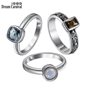 DreamCarnival 1989 Solitaire Women Wedding Engagement Rings Create Your Own Combo 3 Styles Stackable Girls Jewelry WA11266S3