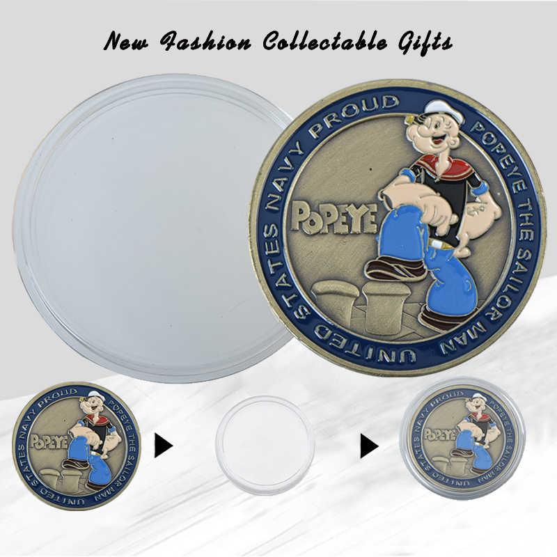 WR Popeye Bronze ชุบเหรียญสหรัฐอเมริกา Navy Proud โลหะสะสมเหรียญ Sailor Man เหรียญที่ระลึก