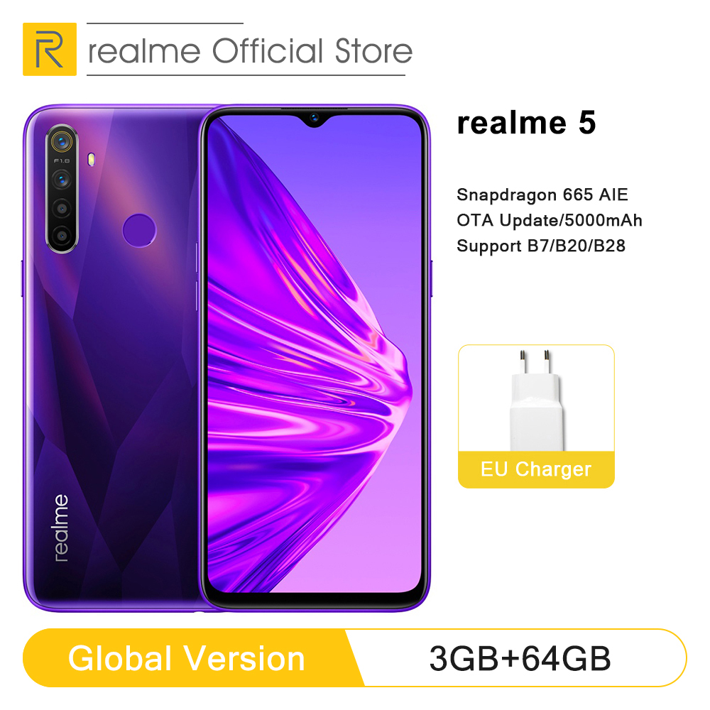 Global Version Realme 5 3GB RAM 64GB ROM 6.5