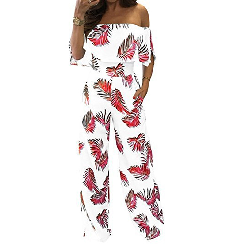 Women Strapless Bodysuits Bohemian Beach Jumpsuits Leaf Print Jumpsuit Off Shoulder Wide Long Pants Female Overall Women Rompers