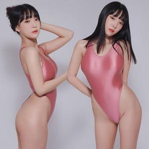 Image 4 - Leotardos de estilo Retro brillante para mujer, traje de baño femenino de dos piezas, de corte alto, con Tanga brillante