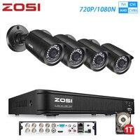 Promo ZOSI 8CH 720P CCTV AHD CVI TVI CVBS 1080N DVR impermeable IR cámaras de seguridad al aire libre sistema de videovigilancia Kit CCTV