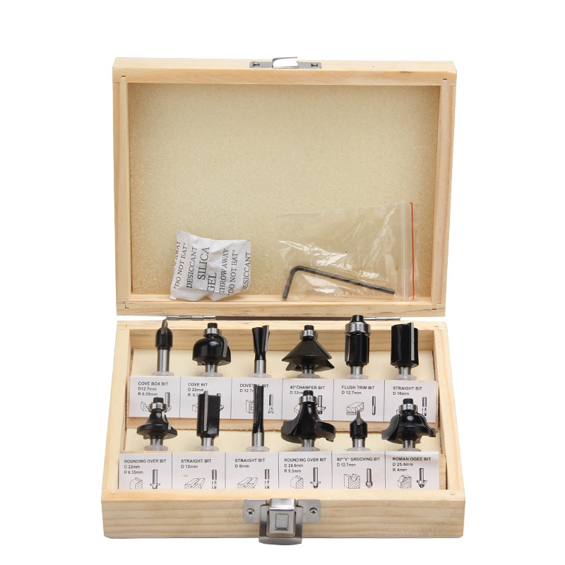 ELEG-12Pcs 6mm Router Bits Set Professional Shank Tungsten Carbide Router Bit Cutter Set With Wooden Case For Wood