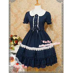Image 4 - Tatlı Kısa Kollu Şifon yaz elbisesi Sevimli Peter Pan Yaka Lolita OP tarafından Çilek Cadı