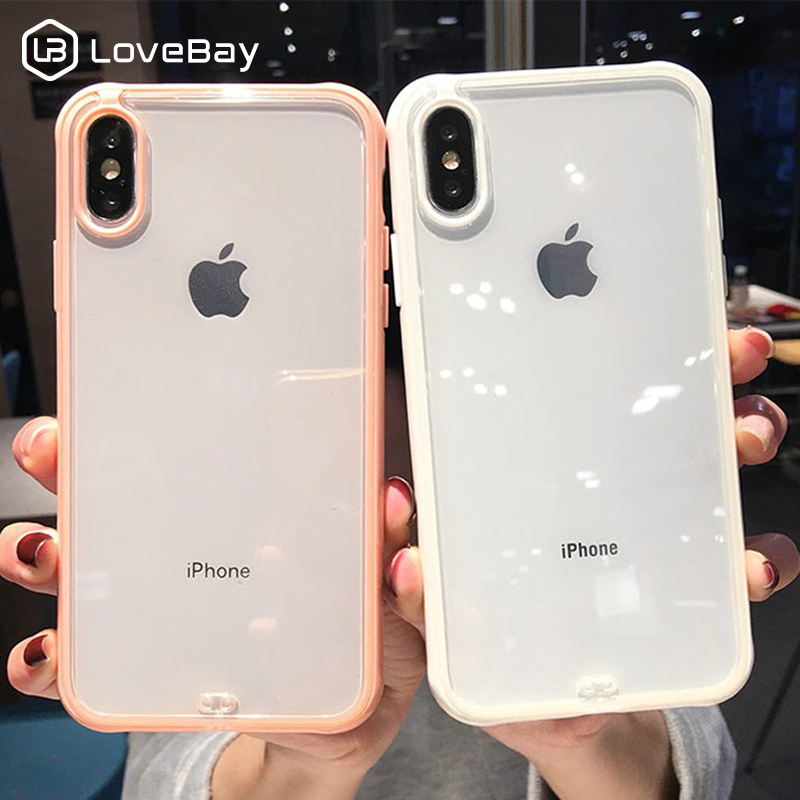 Lovebay Shockproof Bumper Transparent Silicone Phone Case For iPhone 11 Pro SE 2020 X XR XS Max 8 7 6S Plus Clear Soft TPU Cover(China)