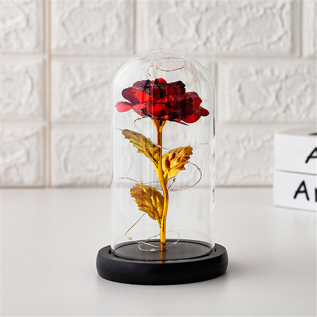 Rose in gold foil with lamp glass cover rose red LED rose with Glass cover festival decoration romantic gift Artificial flowerG3 4