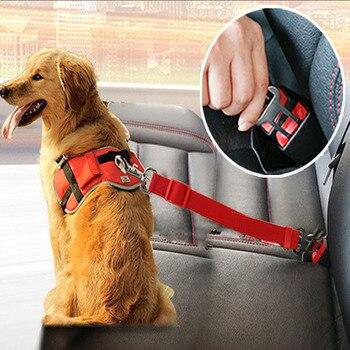 Cão gato cinto de segurança do carro ajustável assento do animal de estimação veículo cinto de segurança arnês clipe de chumbo do cão suprimentos para animais de estimação segurança alavanca tração colarinho 1