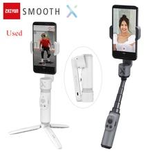 사용 된 Zhiyun 부드러운 X Selfie 스틱 안정제 짐벌 팔로 핸드 헬드 vlog 안티 흔들어 아이폰 화웨이 Xiaomi Redmi 삼성