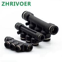 OD Hose Tube Push In 5 Port Gas Quick Fittings Connector Coupler Black Air Pneumatic Fitting 5 Way One Touch 4mm to 12mm