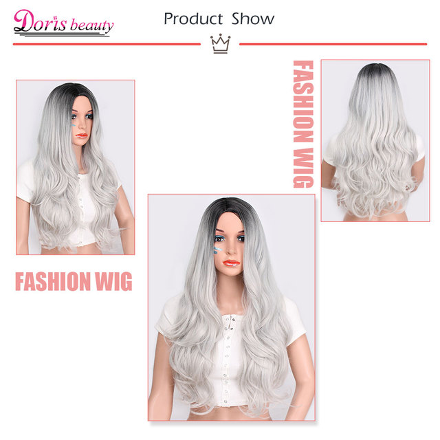 Doris beauty Synthetic Long Wavy Ombre Gray Wig for Woman Cosplay Wig Brown Red Black Blonde Heat Resistant Fiber 6