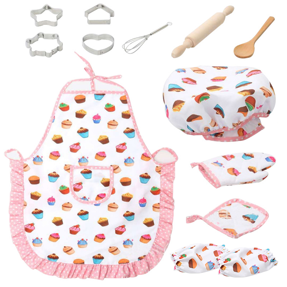 Kids Cooking And Baking Set-13 Pieces, Including Little Girl Apron, Chef Hat, Gloves And Cutlery Accessories Simulation Toys