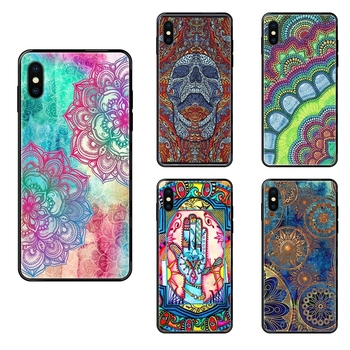 Black Soft TPU Cell Phone Cases Hand Mandala Singleton Hippie Worlds Nicest For Huawei Honor Play V10 View Mate 10 20 20X 30 image