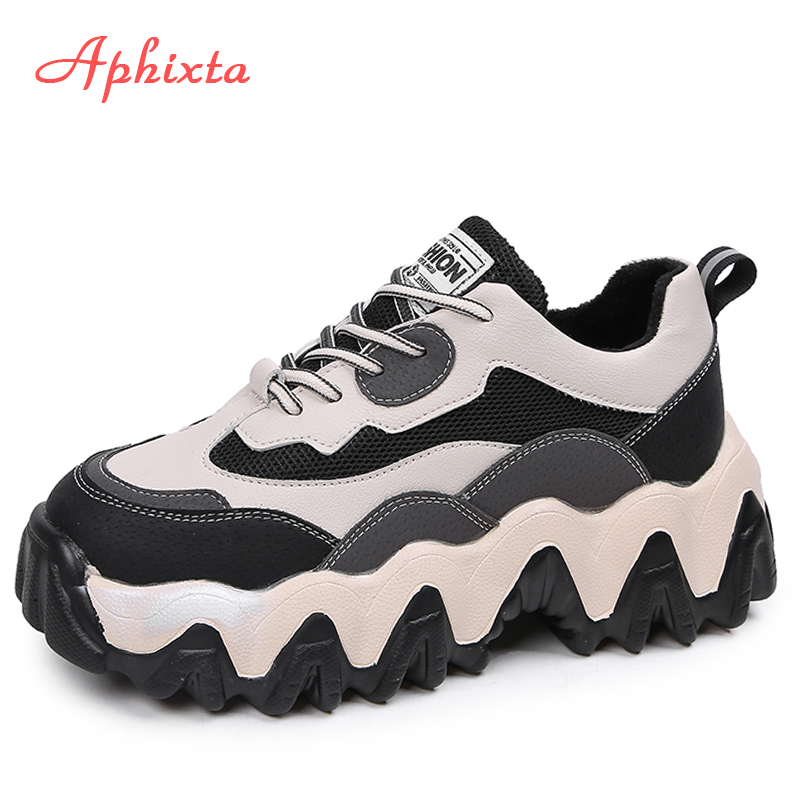 Aphixta Platform Sneakers Women Height Increasing Chunky Wave Sole 2019 Dad Sneakers Chaussures Femme Buty Damskie Shoes Woman