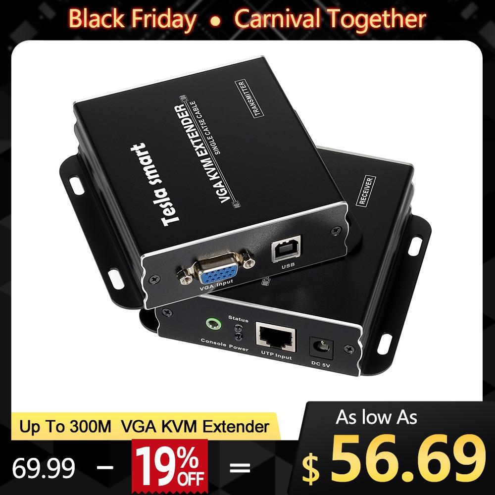 USB VGA KVM Extender 300m 1080P 60Hz Lange Palette 984ft Über Cat5e Cat6 Ethernet Kabel VGA Extender (bis zu 300 m, sender + Empfänger)