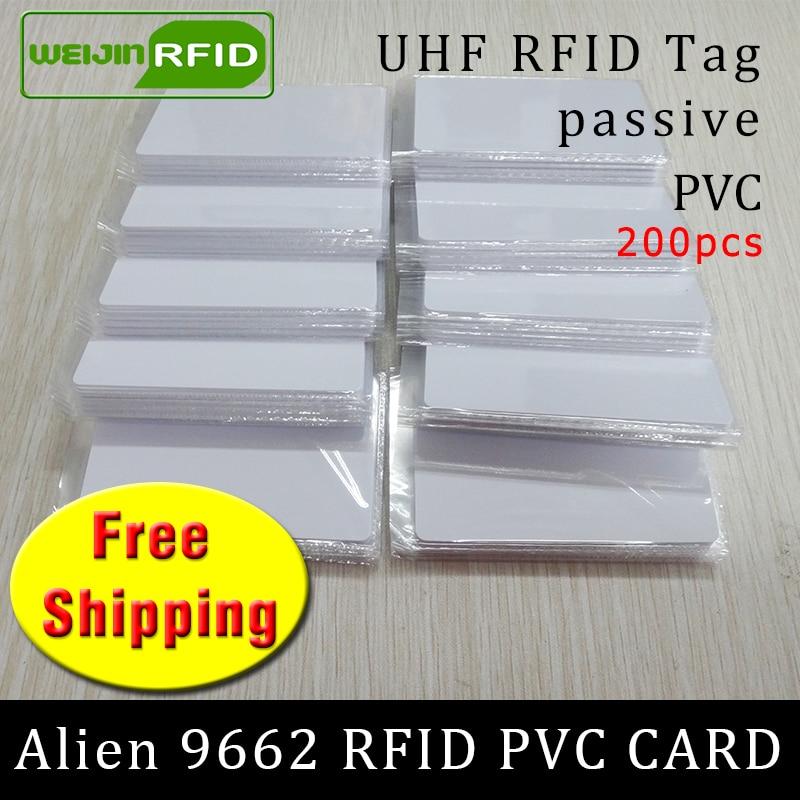 UHF RFID Tag PVC Card Alien 9662 915mhz 868mhz 860-960MHZ Higgs3 EPC 6C 200pcs Free Shipping Smart Long Range Passive RFID Tags