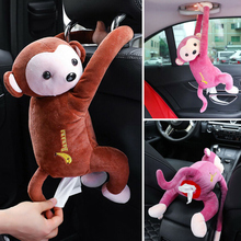 Free Shipping Portable Car Paper Box Cute Cartoon Monkey Molding Holder Tissues Tissue for Seat Back Home