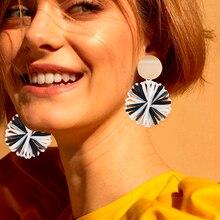 Bohemian Lafite Woven Drop Earrings For Women Oversize Geometric Gold Metal Raffia Rattan Earring Statement 2019 Fashion Jewelry