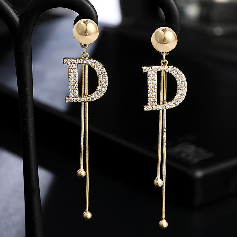 Luxury Brand Long Tassel Drop Earrings For Women Crystal Letter D Earring Female Wedding Fashion Jewelry Oorbellen 2020 Brincos