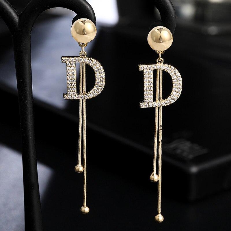 Luxury Brand Long Tassel Letter D Drop Earrings For Women Crystal Big Earring Female Wedding Jewelry Statement oorbellen 2020