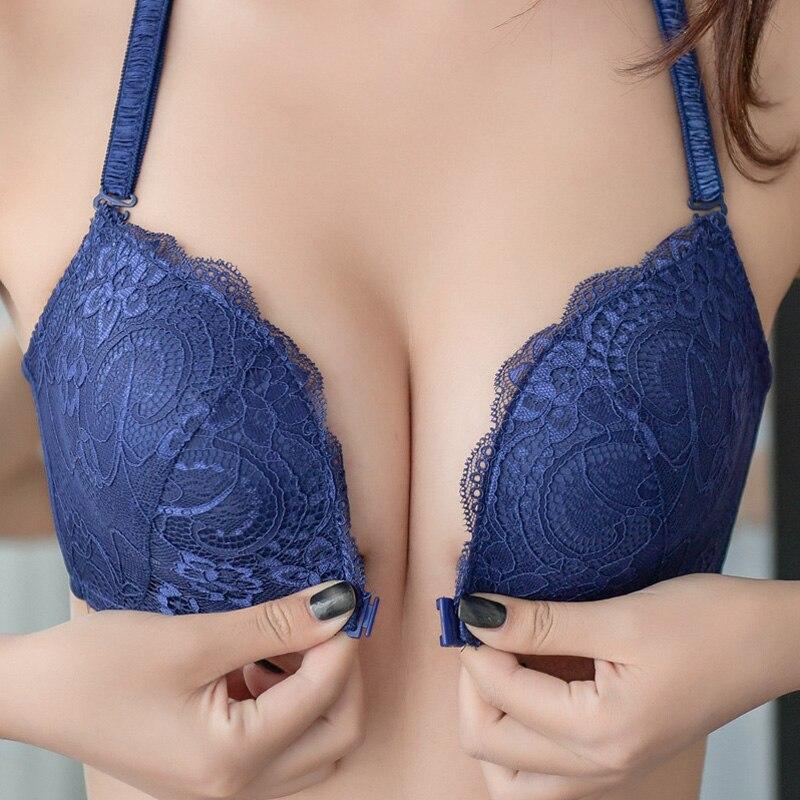 Elovegirl artı büyük boy seksi Push Up sütyen tel ücretsiz ön kapatma sütyen Backless Bralette meme dikişsiz sütyen kadınlar için