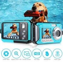 Подводная камера 24,0 МП Водонепроницаемая цифровая камера Full HD 1080P Автоспуск двойной экран запись видео Водонепроницаемая камера для Sn