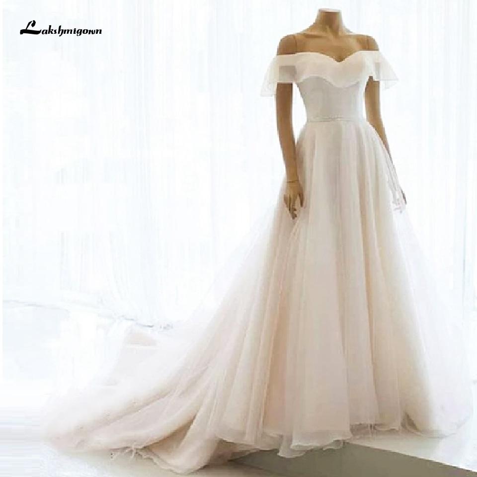 Simple Princess Bridal Dress Off The Sholder Wedding Gowns Lace Up A-line Custom Made Wedding Dress Long Train Rose Moda 2020