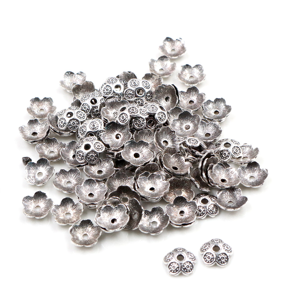 8mm 50pcs Beads Cap Antique Silver Color Flower Shape Bead End Caps Findings For Women Jewelry Making End Caps-P6-49