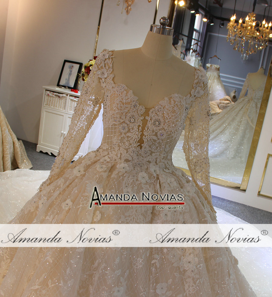 Image 5 - Long sleeves lace plus size wedding dress real work photoWedding Dresses   -