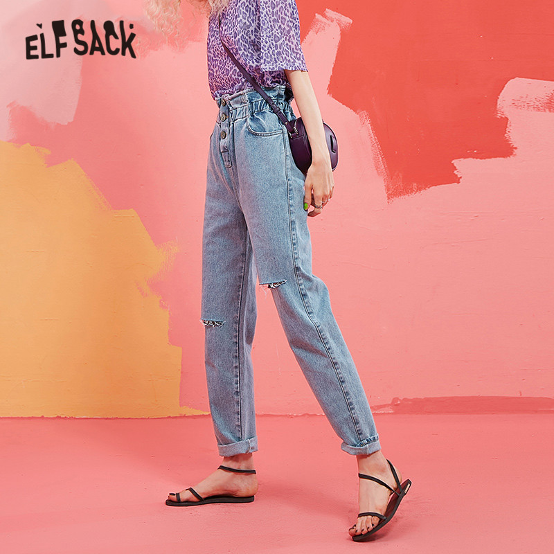 ELFSACK Blue Solid Cut Out Frill Elastic Waist Casual Jeans Woman 2019 Autumn Pure Straight Office Ladies Basic Daily Trousers