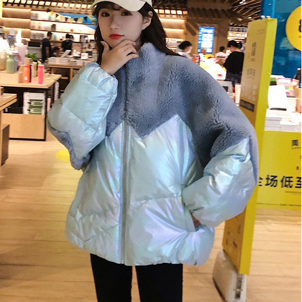 Outerwear & Coats Jackets Fashion Women Lamb Imitation Splicing Coat Winter Warm Long Sleeves Candy Color Oversize Overcoat on AliExpress
