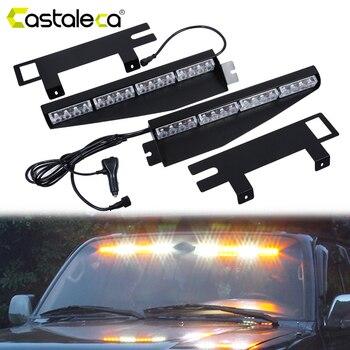Castaleca Vehicle Police Lights 32LED Warning Strobe Light 12/24V Emergency Warning Fog Light 15 Lighting Modes Car Styling