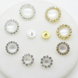 Metal Rhinestones Button for Clothing 10pcs/Lot Mix Color Round Hand Sewing Shirt Buttons Bra Diy Handwork Accessories Wedding