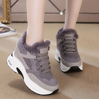 Women Winter Sneakers Warm Fur Chunky Sneakers Platform Plush Casual Shoes Woman Comfort Ladies Wedge Sneakers 2020 New Zapatos winter fur sneakers platform woman 2018 autumn high top female casual shoes wedge side zipper fashion warm snow sneakers v671