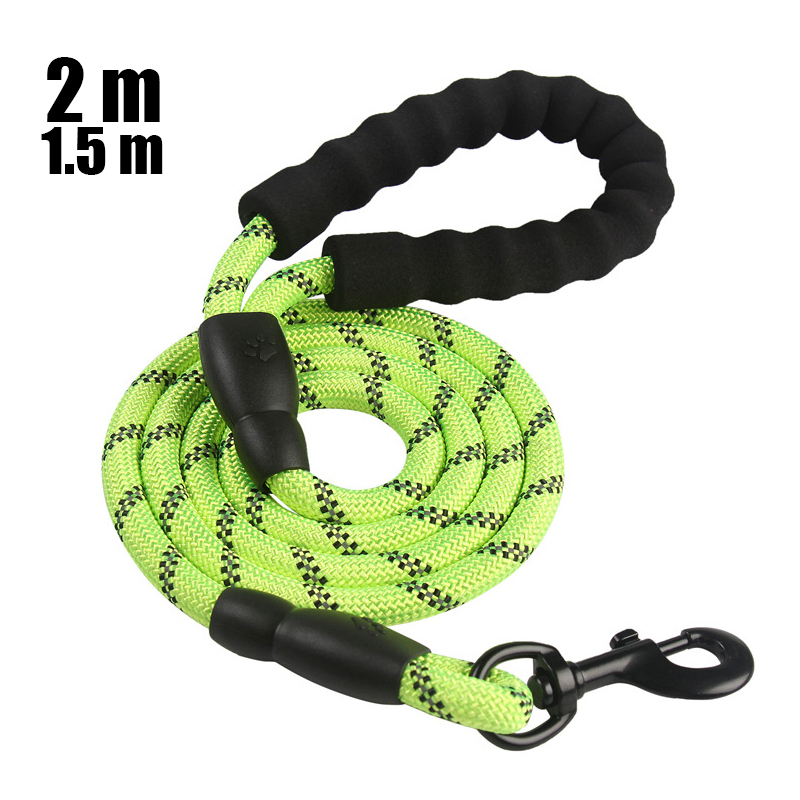 Dog Leash 2m 1.5m Large Dog Reflective Rope Walking Big Dog Collar Strengthen Traction Harness Round Nylon Medium Dog Lead Belt