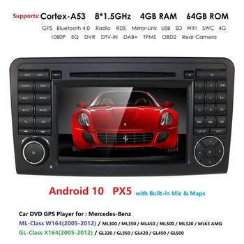 PX5 DSP IPS android 10.0 car radio multimedia player dvd gps For Mercedes Benz ML W164 GL X164 ML350 ML320 ML280 GL350 GL450 CAM