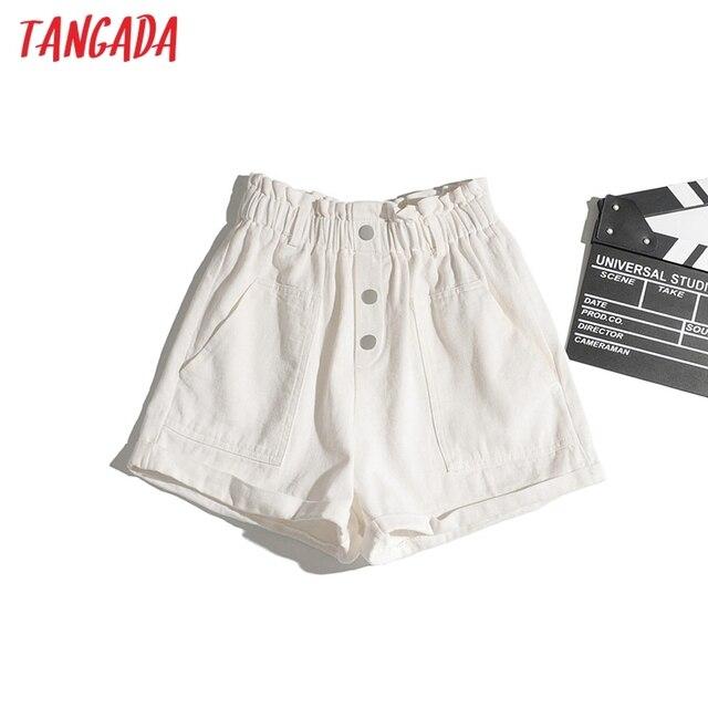 Tangada Women Cotton Shorts High Waist Buttons Pockets Female Retro Basic Casual Shorts Pantalones 1M2 3