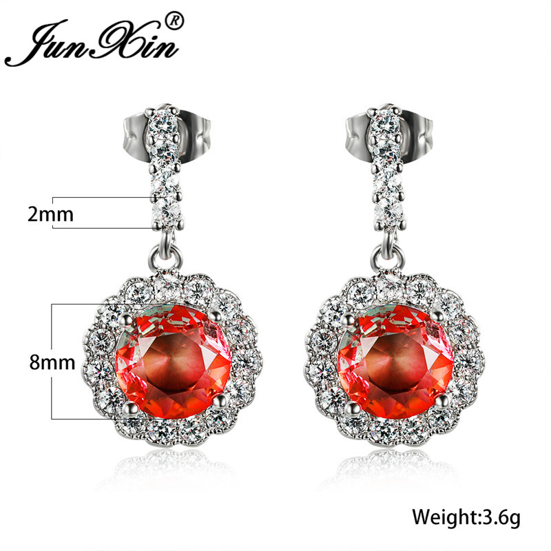 Gradient Pink Yellow Zircon Round Stud Earrings For Women White Gold Rose Gold Colorful Rainbow Fire Crystal Wedding Earrings Cz