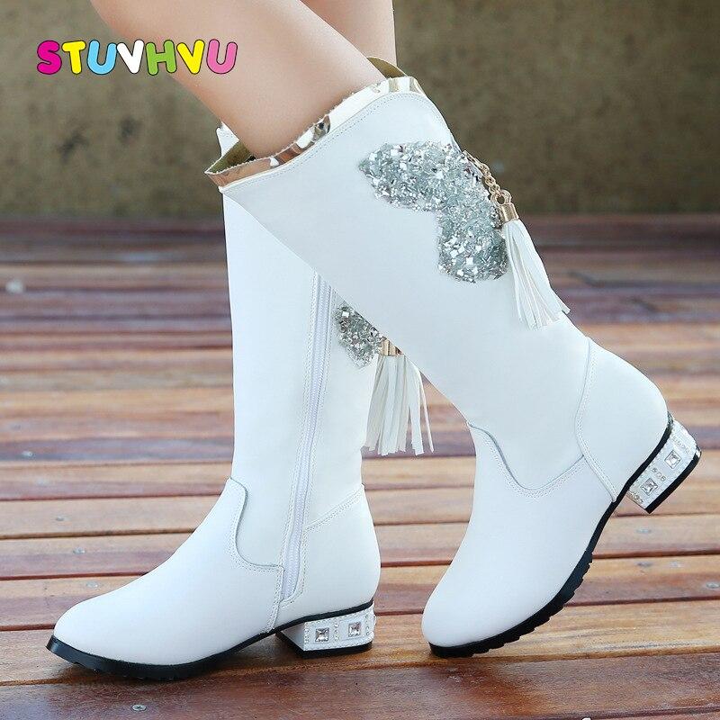 Winter Boots For Girls Shoes Princess Children's Boots Tassel Leather High-heels Long Boots Plus Velvet Warm Cotton Kids Shoes