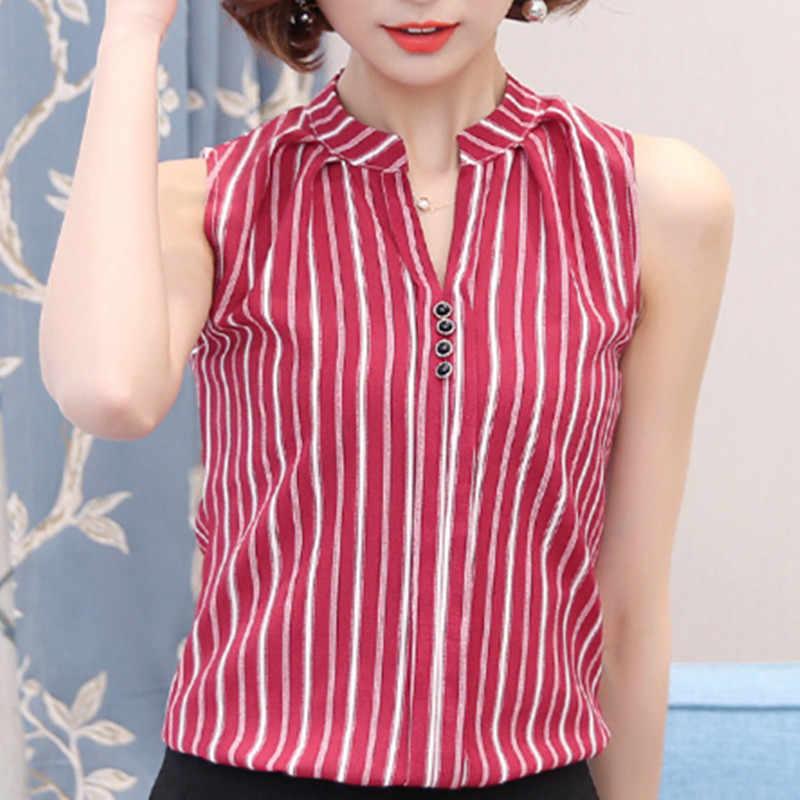Mode femme Blouses 2018 été hauts pour femmes hauts et chemisiers dames hauts sans manches Blusa Feminina grande taille rouge/noir chemisier femme haut femme roupas feminina