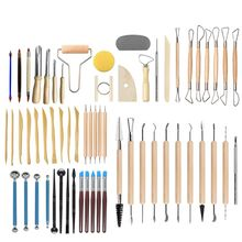 61PCS Ceramic Clay Tools Set Polymer Clay Tools Pottery Tools Set Wooden Pottery Sculpting Clay Cleaning Tool Set tool sculpture stainless steel phalaenopsis cutting mould clay mould ceramic polymorph modelismo fimo polymer clay flower cutter tools