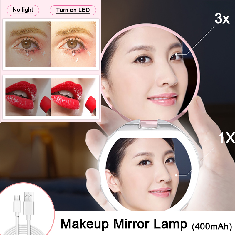 2020 Ultra-thin USB Charging LED Makeup Mirror Light 3X Magnifying Vanity Light Girl Essential Travel Portable Makeup Mirror