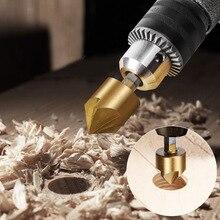 6pcs Countersink Drill Bit Set HSS 5 Flute Wood Chamfering Cutter Round Shank For Power Tool