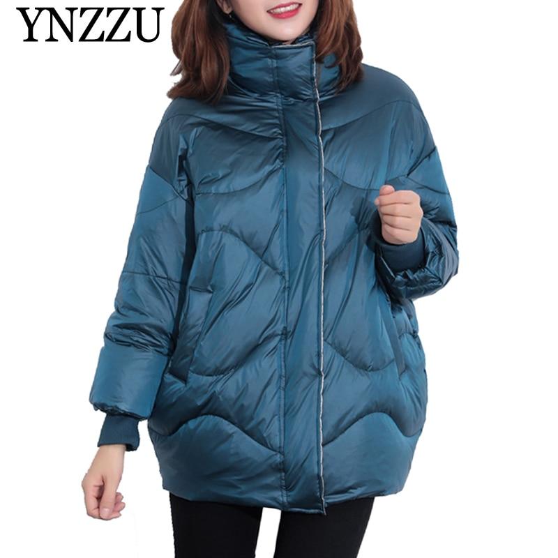 YNZZU 2019 Winter Turtleneck Long sleeve Women   Down     coat   Thick Warm 90% White duck   down   Jackets Casual light Girl Overcoat YO920