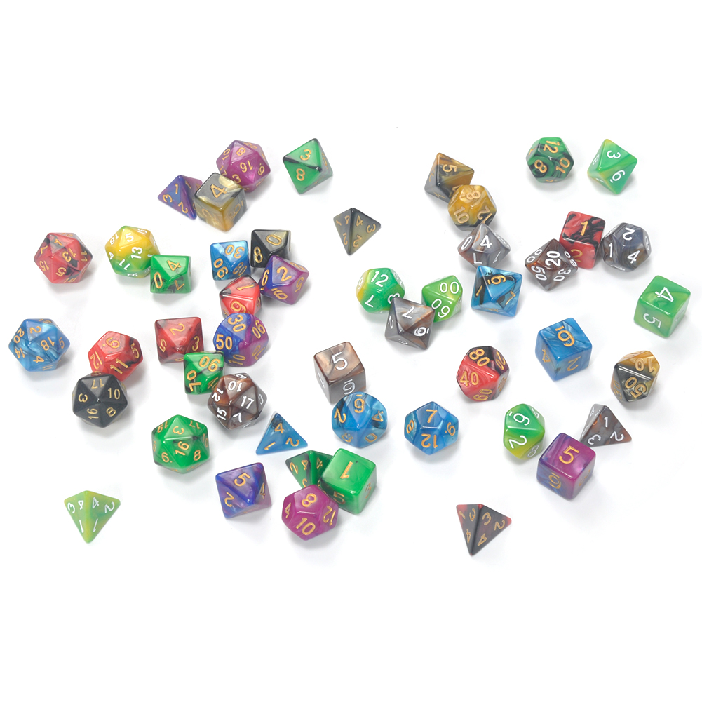 7pcs Promotion 2-color Dice Set With Nebula Effect Poker D&d D4,d6,d8,d10,d12,d20 Polyhedral Dice, Rpg Game Dice