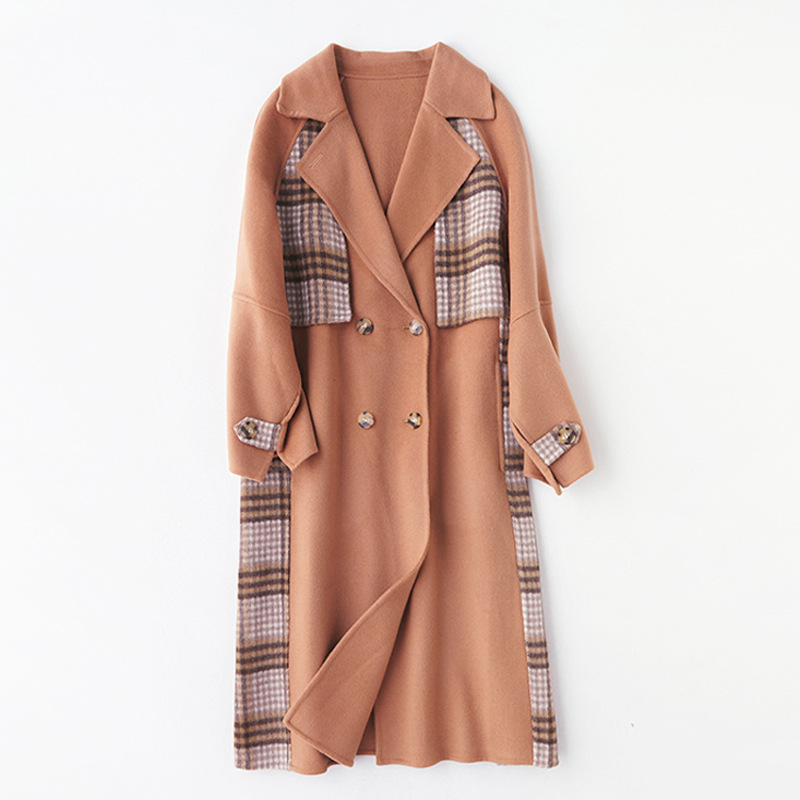 Shuchan Patchwork Plaid Coats and Jackets Women Double Breasted Womens Clothing Autumn Winter 2019