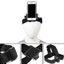 Faixa de cabeça suporte do telefone ajustável na correia do chicote de fios suporte clipe tripé para câmera gopro iphone android smartphone