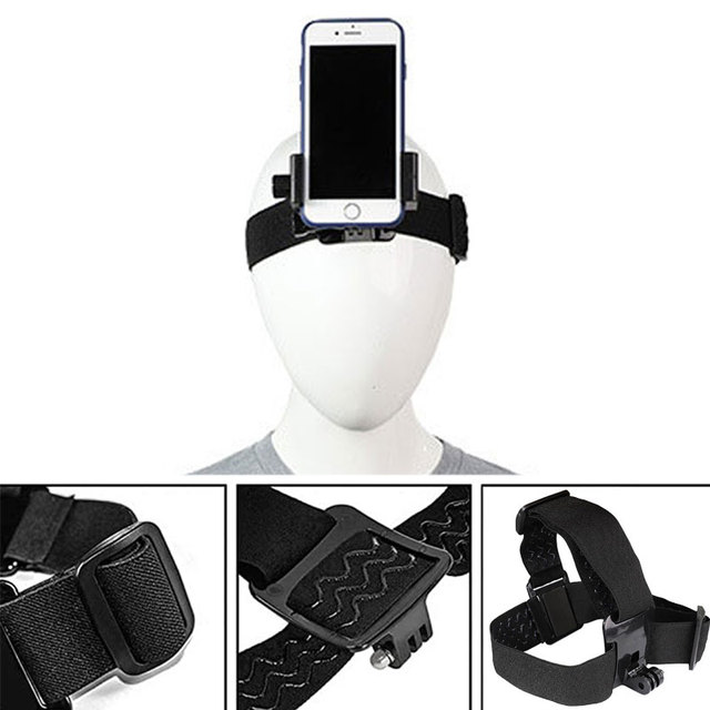 Head Band Phone Holder Adjustable At Harness Strap Belt Mount Tripod Clip Bracket For Gopro Camera Iphone Android Smartphone