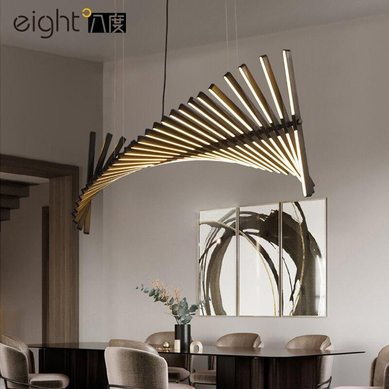 Nordic Living Room Led Chandelier Lighting New Designer Restaurant Bar Fishbone Hanging Light Modern Novelty Office Long Lamp