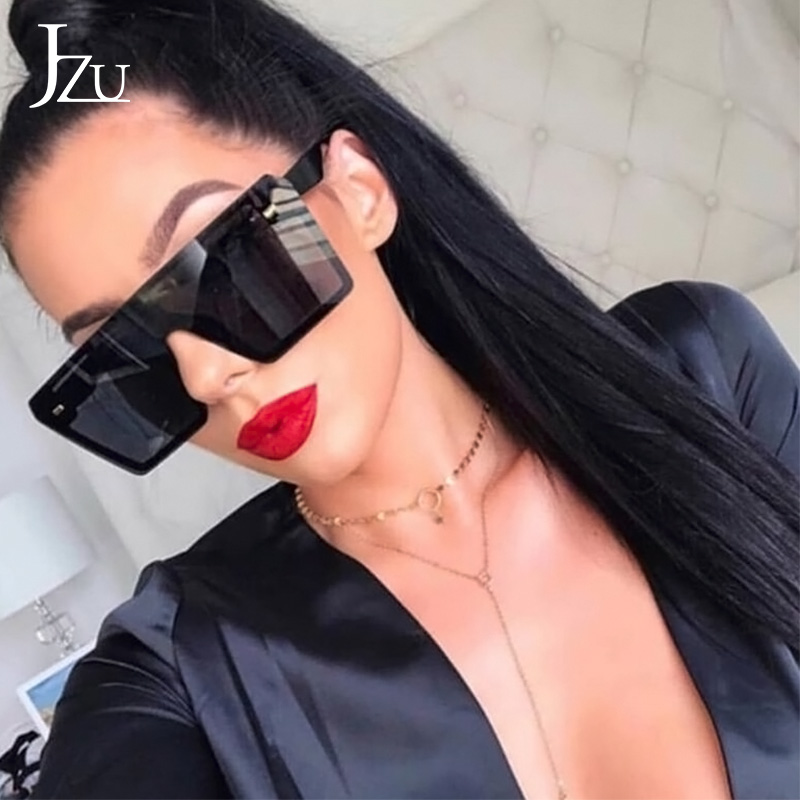 JZU 2019 Luxury Brand Sunglasses Women Fashion Oversized Big Square Flat Top Red Black Sunglasses Women Men Gafas Shade Mirror