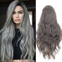Perruques cheveux longs bouclés avec frange cheveux synthétiques pour les femmes Cosplay couleur naturelle rose violet gris bleu filles Lolita perruques MUMUPI
